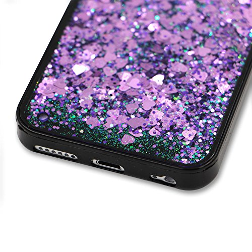 SKYXD Antiurto Morbido Silicone Gel TPU Custodia per iPhone 7 Plus 5.5,Cover 3D Creativo Disegni Lusso Bling Glitter Clessidra Liquido Sabbie Stella Nero Opaca Coperture Protettive Back Case per iPho Colore 07