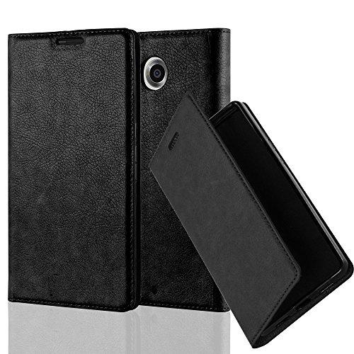 Cadorabo Hülle für Lenovo Google Nexus 6 / 6X - Hülle in Nacht SCHWARZ – Handyhülle mit Magnetverschluss, Standfunktion und Kartenfach - Case Cover Schutzhülle Etui Tasche Book Klapp Style