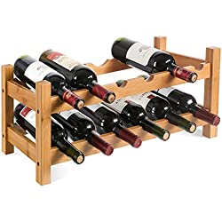 Homfa Casier à Vin Étagère à Bouteille 2 Etagères de 12 Bouteilles en Bambou 60×24×25cm