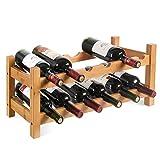 HOMFA Bambus Weinregal Flaschenregal für 12 Flaschen Weinhalter Weinständer Flaschenständer Weinflaschenhalter 60x24x25CM