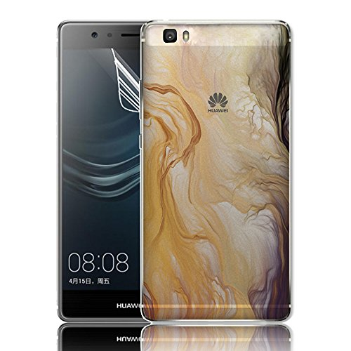 Coque pour Huawei P8 Lite 2015 (5.0 pouces) Shell - Sunroyal Ultra Light Soft Souple TPU Ultra Slim Silicone Coquille Case Transparent Clair Gel Back Cover 3D Ink Waves Modèle Créatif Coloré Beau conception Housse Etui avec Vague Encre Hull + 1x Protecteur d'écran pour Huawei P8 Lite 2015 (5.0 pouces) - Modèle04