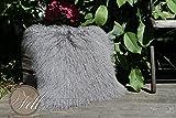 Kissen Tibet Lammfell Stone Grey 50 x 50 cm Kissenhülle ohne Inlet Grau