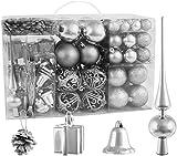 BRUBAKER Christbaumkugel Set mit Tannenzapfen, Weihnachtsglocken, Geschenken, Christbaumspitze - Christbaumschmuck - 101 Teile - Silber