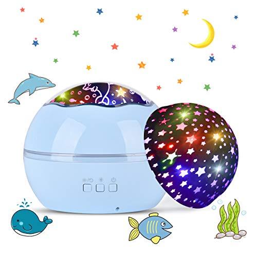 Tyhbelle LED Projektor Lampe,Sternenhimmel Baby Nachtlicht 2 in 1 Ozean Projektor & Sterne Nachttischlampe 360° Grad Rotation Projektionslampe 8-Farbwechsel Perfekt für Kinder Schlafzimmer(Blau)