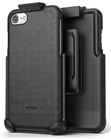 iPhone 7 Vegan Leather Belt Clip Case w/ Holster - Artura Collection by Encased (Jet Black)