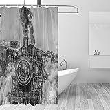 COOSUN Dampf-Zug-Druck-Duschvorhang, Polyester-Gewebe Duschvorhang, 66 x 72-inch 66x72 Mehrfarbig