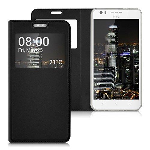kwmobile Tasche passend für HTC Desire 10 Lifestyle - Hülle [Kunstleder] mit [Sichtfenster] - in [Schwarz]