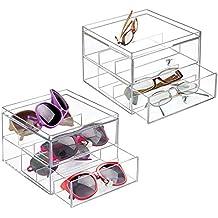d90922f24a MetroDecor mDesign Juego de 2 Organizador de Gafas de Sol y de Leer con 2  cajones – Cajonera de plástico para Guardar Gafas – Guarda Gafas Ideal como  joyero ...