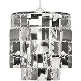 MiniSun Stunning Modern Round 2 Tier Silver Pendant Ceiling Lamp Light Shade