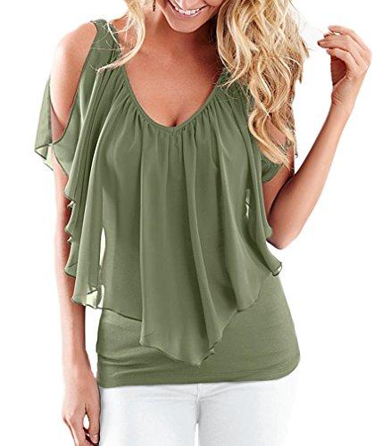 Donna Maglietta Elegante Estivo Chiffon Camicia V Scollo Manica Corta Senza Spalline Irregolare Taglie Forti Top Camicetta Puro Colore A Pieghe Casuale T-Shirt Blusa S-Xxl Verde