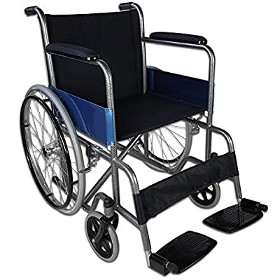 Folding and Selfpropelled Wheelchair | Model Alcázar | Made of Steel | Width: 46 cm | Height: 86 cm | Maximum Weight Supported: 100 kg | Total Width: 70 cm (Wheels Included)
