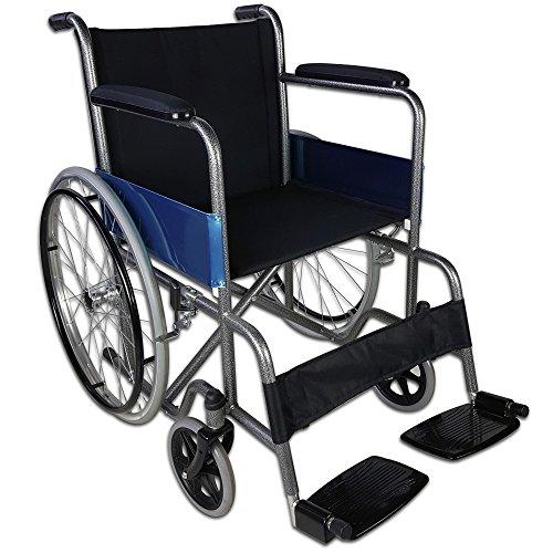 Zusammenfaltbarer Rollstuhl aus Stahl, Modell Alcázar | Sitzbreite: 46 cm | Höhe: 86 cm | Maximale Belastbarkeit: 100 kg