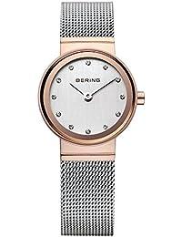 Bering Time  - Reloj de cuarzo para mujer, correa de acero inoxidable color plateado