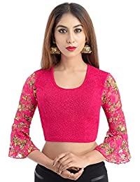 Lionize Women's Lycra Round Neck 3/4th Sleeves Stretchable Readymade Blouse