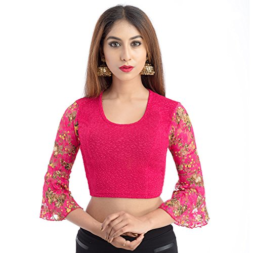 Lionize Women's Lycra Round Neck 3/4th Sleeves Stretchable Readymade Blouse (Rani-Pink)