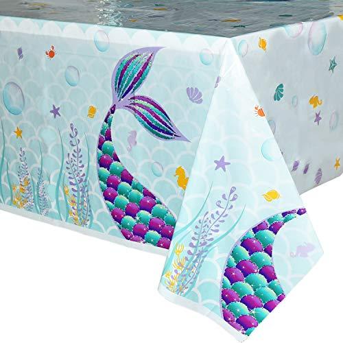 WERNNSAI Tovaglie Sirena - 1 Pezzi Tovaglia di Plastica Stampata Monouso, Articoli per Feste per Bambini Ragazze Compleanno Nozze Baby Shower Decorazione per Feste a Tema Sirena