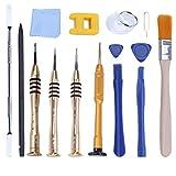 UKCOCO 15pcs/Pack Kit de herramientas de reparación profesional de apertura Pry herramientas de destornillador Magnetizador para iPhone X/8 Plus/7 Plus/7/6 Plus/6S/6/iPad 4/3/2/Mini/iPod/iTouch