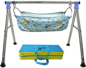 DYRECTDEALS Fully Folding Stainless Steel Ghodiyu Baby Cradle with Cotton Hammock (Blue, 1456)