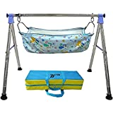 DYRECTDEALS Fully Folding Stainless Steel Ghodiyu (Baby Cradle) with Cotton Hammock