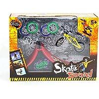 Skatepark Ramps, Mini Finger Bike Skateboard Playset Diapasón Skate Park Kit con Bicicletas Ultimate Sport Entrenamiento Atrezzo Toy Christmas Gift para Niños (A)
