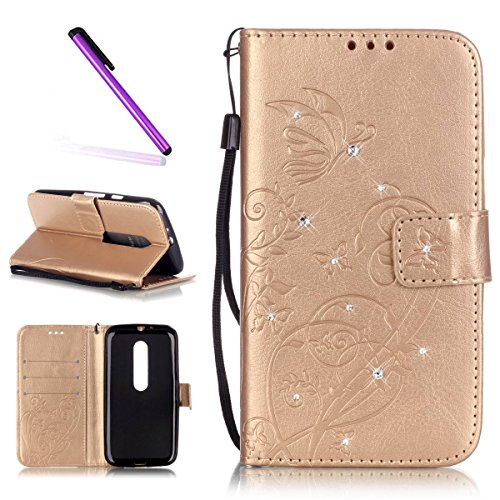 Motorola Moto G3 Hülle,Motorola Moto G3 Case,Moto G3 Cover,Schutzhülle für Motorola Moto G (3rd Gen) Leder Handy Tasche Wallet Case Flip Case Cover Hülle Etui,EMAXELERS Elegante Glitter Bling Diamant Schmetterlings Muster Schutzhülle Ledertasche Lederhülle Handyhülle Hüllen mit Standfunktion Kunstleder für Motorola Moto G 2015 Version (3rd Gen),Gold Butterfly with Diamond
