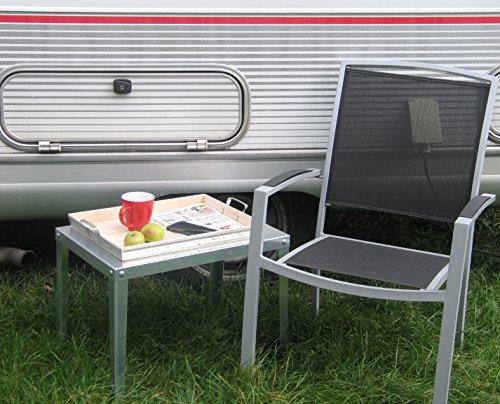 Metall Camping- und Garten-, Beistelltisch Bistrotisch Höhe 45 cm für Camping, Terrasse, Balkon und Garten
