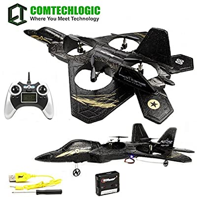 Comtechlogic® CM-2219 F2 Super Fighter RC Radio Remote Control Jet Drone Quadcopter with Built in Gyro & LCD Display RTR EP