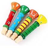 Tongshi Multi-color de los niños de madera del bebé Horn Hooter trompeta de música instrumental Juguetes