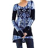 Damen Printed Sweatshirts ✽ZEZKT✽Floral Outerwear Langarm Plus Größe Langarmshirt Schwarz Casual Top (M, Blau)