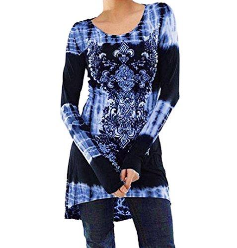 Damen Printed Sweatshirts ✽ZEZKT✽Floral Outerwear Langarm Plus Größe Langarmshirt Schwarz Casual Top (XL, Blau) (Printed Tunika Knit)