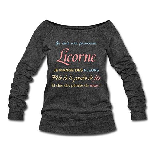 Citation-Je-Suis-Une-Princesse-Licorne-Pull-Femme-col-bateau-de-Bella-de-Spreadshirt