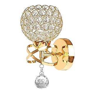 Annstory Wall Lamp, Modern Style Crystal Pendant Wall Lamp Bedroom Aisle Living Room Wall Light Holder E14 Socket, Bulb Not Included (Gold)