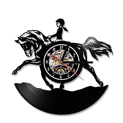 Wanduhren 3D-Schallplatte Horsewoman Vinyl Record Hanging LEDCreative Pferd und Frau Design Ideal für jeden Raum in Home Dining Kitchen Office (Pferd Stick Sound Mit)
