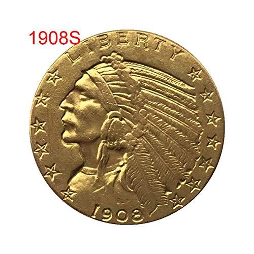 6 - Forart 1908/1926 Antigua Moneda Antigua Conmemorativa de los EE. UU, Memoria Retro Chapado en Oro Moneda de Colección Artesanía Arte Decoraciones de Souvenirs