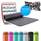 POWRX Gymnastikmatte Yogamatte inkl. Workout I Trainingsmatte Phthalatfrei 183 x