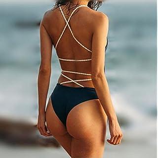 RDJM Bandage Maillot De Bain Une Pièce Solide Femme Maillots De Bain Licou Maillot De Bain Femme Maillot De Bain Sexy Beachwear,Black,L