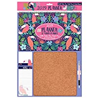 Atlona Tallon 3358 2019 Planner Calendar with Cork Memo Board, Note Pads, Pen and Pins - Toucan or Cactus Design