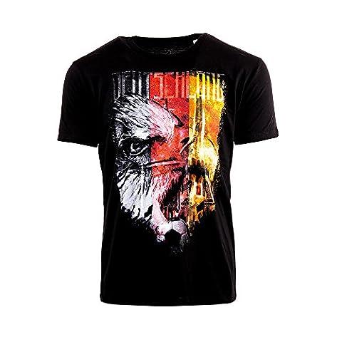 Deutschland EM 2016 Fanshirt - Herren Crew-Neck T-Shirt - Paris 16, XL, schwarz