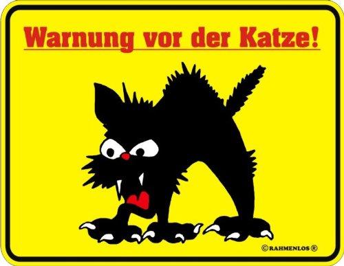 Katzen Blechschild Warnung vor der Katze (22cm x 17cm)