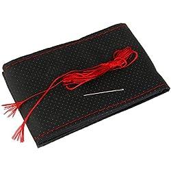 Funda Cubierta de Volante Coche Bricolaje Cuero Artificial Agujas Hilo Rojo Negro