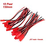 10 Paar JST Adapterkabel Stecker Buchse 150mm mit Kabel Draht weiblich und männlich für RC BEC Lipo Akku