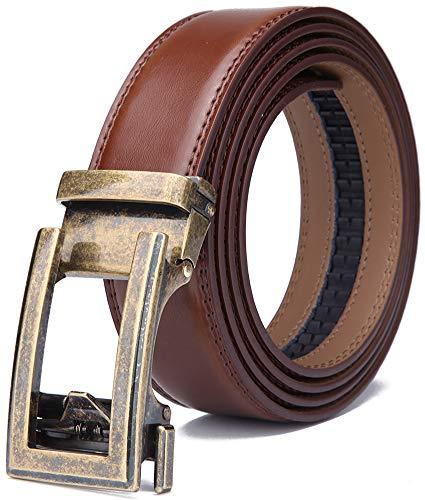 WETOPER Herren Gürtel Ratsche Automatik Gürtel für Männer 35mm Breit Ledergürtel (Länge 130cm Geeignet für 28-45 taille, No:22) (Herren Gürtel Schnallen)