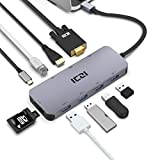 USB C Hub, Thunderbolt 3 ICZI 10-in-1 Power Delivery (PD) Aluminum mit 4 * USB 3.0 Ports, HDMI 4K Adapter , VGA Output, RJ45 Gigabit Ethernet, SD/TF/Micro SD Kartenleser und USB C Datenhub USB Typ-C Ladeanschluss für MacBook Pro 2016/2017, neues MacBook, Chromebook,Sumsung S8, Huawei Mate 10 und mehr Type-C Computer