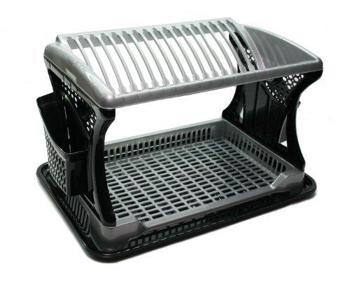 Dunya Plastik Abtropfständer für Geschirr und Besteck, 2 Ebenen, Kunststoff, Schwarz / silberfarben