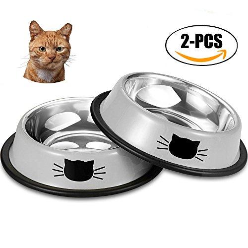 Futternapf Katze, 2 Stück Edelstahl Rutschfest Kätzchen Napf Katzennapf Set Fressnapf Futterschüssel Wasser Fütterung Katzenfutter Wassernapf Schüssel für Kaninchen Hunde Welpen
