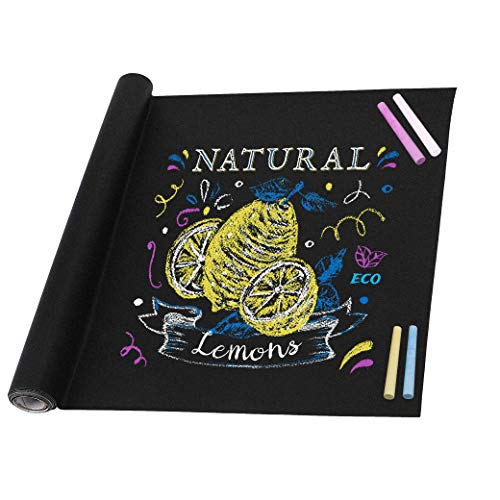 bend Kreidetafel Kinder Blackboard Folie DIY Aufkleber mit 5 Stück Bunte Kreide für Schule Zuhause und Büro 45cm x 200cm ()