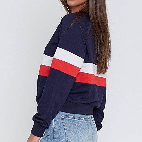 Semen Femme Sweat-Shirt Pull-over Manche Longue Rayures Imprimé Top Blouse Pull Mode Casual Printemps Multicolore