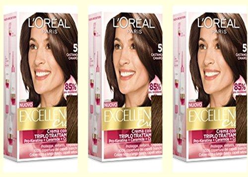 3-x-loreal-excellence-creme-5-castano-chiaro-tintura-per-capelli