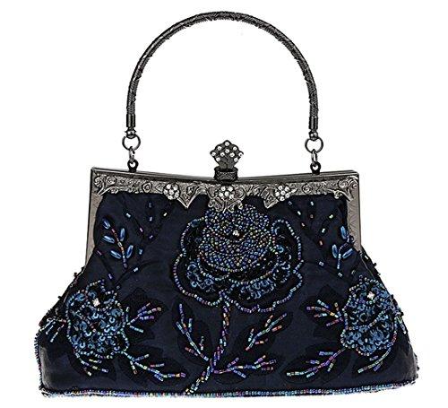 KAXIDY Damen Clutch Abendtasche Pailletten Tasche Schultertasche Handtasche Hochzeit Party Außen (Marine-blau) (Marine-blau-handtasche)