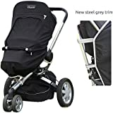 SnoozeShade Plus - sunshade and sleep aid for pushchairs and strollers (steel grey trim) - universal fit and blocks up to 99% of UV (6-9m+)